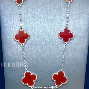 Solid 925 Sterling Silver 10 Motif Clover Necklace